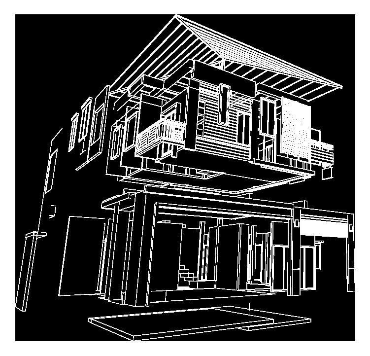 plan maison 3D pour installation de Poele
