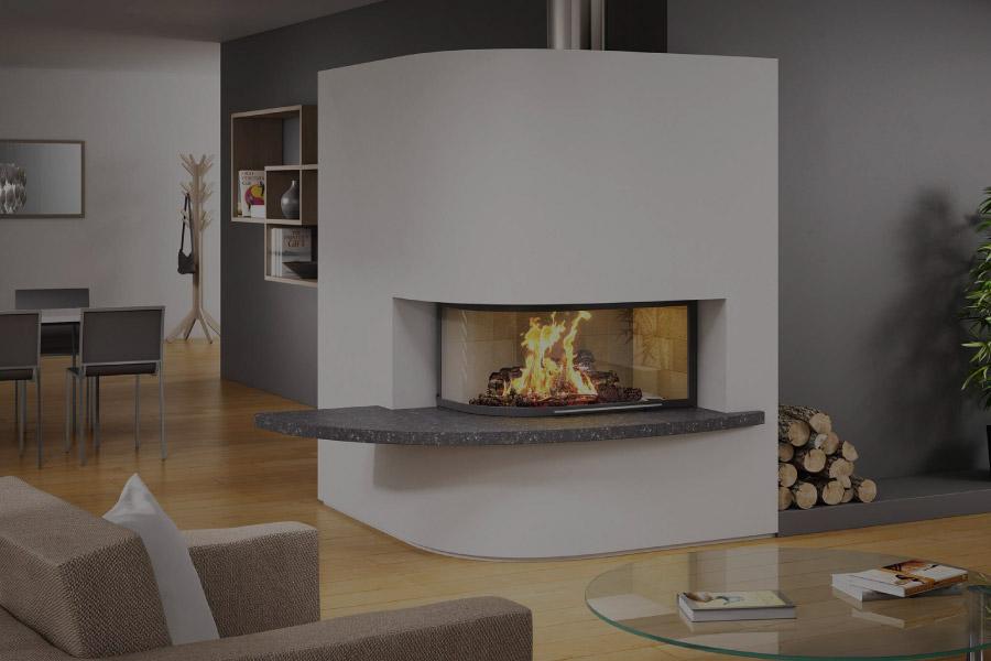 flam cheminée 2 vitres